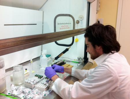 Photo of lab technician for Biomonitoring Communications project