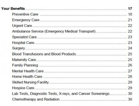 Screen shot of Table of Contents of Evidence of Coverage Document