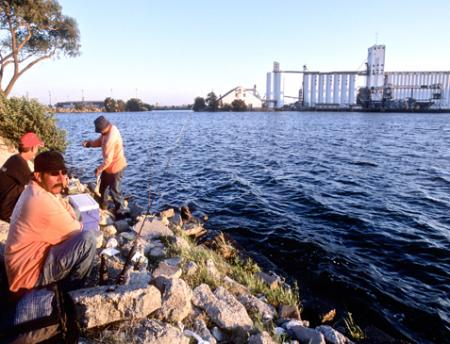 Photo of fishermen and chemical plant