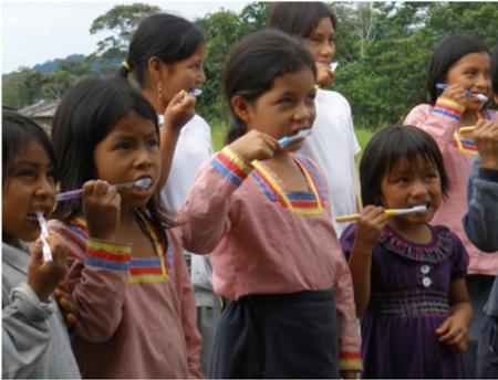 Children learn about dental health